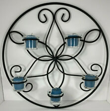 Metal Wall Decor Candle Holder Circular Black with Glass Cups and Blue Candles