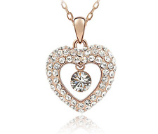 Fashion Womens Heart  Clear Crystal Rhinestone Gold Chain Pendant Necklace HOT