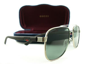 Gucci Sunglasses GG0422S 005 Gold Brown Green New Authentic