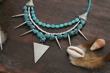 Gorgeous Handmade 3 Layer Blue Turquoise Chunk Bead &Silver Spike Bead Necklace