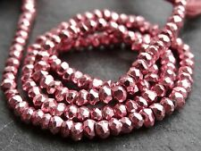 "HAND FACETED MAGENTA COLOUR COATED PYRITE RONDELLES, 3.5mm, 13"", 120 beads"