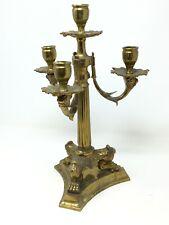 Chandelier Bronze Doré 19 th tète de lion Antique Candlestick XIX eme Bougeoir