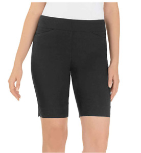 "Hilary Radley XXL Stretch Bermuda Shorts 9"" inseam Pull On Black"