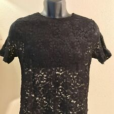 Women's Black Lace Flower See Through Blouse Shirt Size M