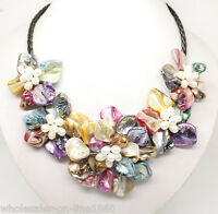 Stunning Multicolor Freshwater Pearl Sea Shell Flower Leather Necklace 18""