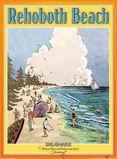 Rehoboth Beach-Vintage Art Deco Style Travel Poster-by Aurelio Grisanty