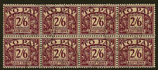 POSTAGE DUE : 1954 2/6d  SG D45 fine used block of eight