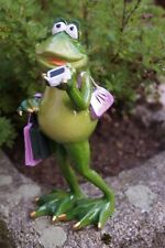 Kunstharz Frosch Lady Shopping mit Handy 19 cm Grün Dekofigur