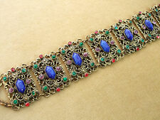 ~ VINTAGE ART DECO CZECH BRACELET, FILIGREE METAL, LAPIS GLASS, PASTE RHINESTONE