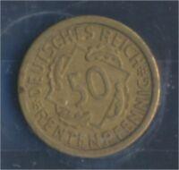 Deutsches Reich Jägernr: 310 1924 J sehr schön 1924 50 Rentenpfennig (7859390