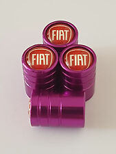 FIAT RED TOP PURPLE DELUXE car Valve Alloy wheel dust Caps ALL MODELS 500 PUNTO