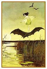Ida Rentoul Outhwaite Witches Sister on Her Bat Counted Cross Stitch Pattern