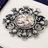 Vintage White & Silver Glass Fire Opal - Scottish Thistle Celtic Brooch Pin