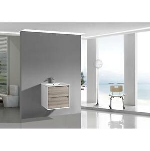 2 Drawers Wall Hung Wax Oak & Glossy White Lacquer PVC Vanity 750mm
