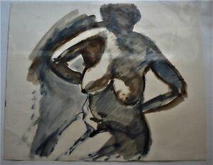 Gilbert Adams FRPS (1906-1996) - Orig.- 20th Century Gouache-Nude--COA