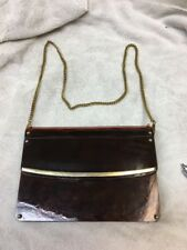 Vintage Davids Palm Beach Brown Hard Plastic ,Gold Chain Purse