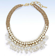 CAPRI COLETTE Gold-Tone Embellished Faux Pearl & Crystal Crochet Collar Necklace