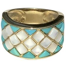 14K Yellow Gold Ring Turquoise Mother Of Pearl Wide Band Diagonal Checkerboard 7