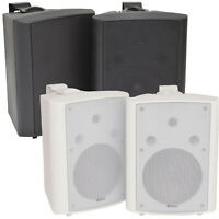 """8"""" 2 Way Compact Stereo HiFi Speakers 180W Pair Home Mini Wall Mount ABS"""