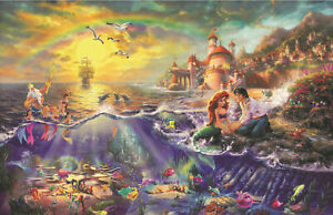 Kinkade Little Mermaid Poster Print 11x17 Ariel Sebastian Flounder Disney