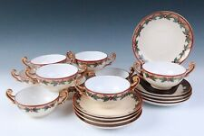 10 Sets Antique Hand Painted Limoges HOLLY & GOLD Bouillon Cups & Saucers French