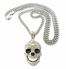 """ICED OUT SKULL PENDANT 6mm/36"""" MIAMI CUBAN CHAIN HIP HOPNECKLACE CP15"""
