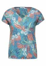 CECIL 316465 FLOWER Shirt kurzarm Blumen Burn Out Optik V-Ausschnitt Damen blau