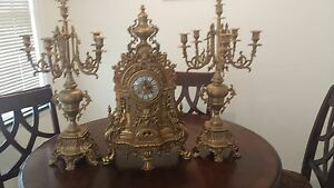 antique imperial Italian clock and pair of candleabras