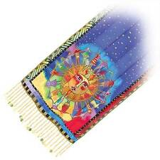 Laurel Burch 100% Silk Oblong Scarf With Fringe Harmony Under The Sun Blue Gold