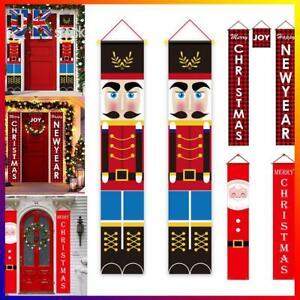 Merry Christmas Party hanging Door Banner Xmas Nutcracker Soldier Decoration