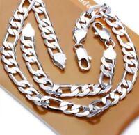 925 Sterling Silver Sp Necklace Bracelet Chunky 12mm Set Men's Ladies Jewellery