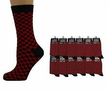 MENS RED & BLACK CHECK SQUARES ANKLE SOCKS - SIZE: UK 6-11 NEW