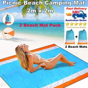 2 x Sand Free Beach Mat Large Picnic Camping Rug Blanket Toy Play Mat Waterproof