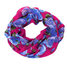 Fashion Long Wrap Lady Women's Rose Flower Shawl Soft Double Loop Chiffon Scarf