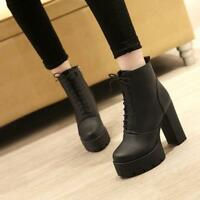 Womens Chunky High Heels High Top Platform Round Toe Lace Up Ankle Boots Shoes #