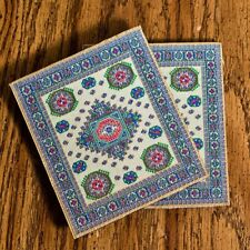 Logos Traditional Turkish Rug Style Coaster, Set of 2 - Crown of Thorns & Cross
