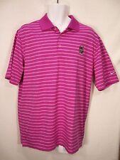 Nike Golf Dri-Fit Men's Birmingham Pink & White Striped Polo Shirt Medium NWT
