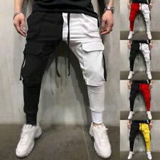 Hombre Informal SPORTS Pantalones Hip-Hop Delgado Pantalones Rojo y Blanco Color