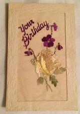 Vintage WW1 Tuck's Silk Embroidered Birthday Greetings Postcard