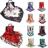 New Fashion Women Silk-Satin Head Square Hijab Scarf Print Beach Shawl Wraps