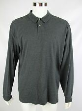 Polo Ralph Lauren Mens Size Large Dark Gray Long Sleeve Pima Cotton Polo Shirt