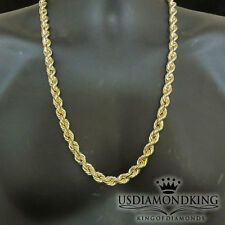 Real 10K 100% Yellow Gold 10mm Men's Hollow Diamond Cut Rope Chain Necklace 28""