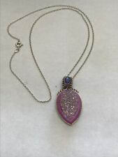 Beautiful Estate Sterling Silver SAJEN Pink Lavender Druzy Necklace