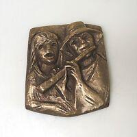 Bronzerelief Bronze Joseph Krautwald Flötenspieler ca. 14,5 x 12 cm 0,9 Kg