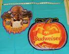 vintage original BUDWEISER beer Halloween sign x2 Cryptkeeper + pumpkin jol