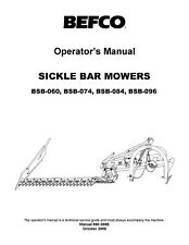 Befco Bsb Series Sickle Mowers Operator Instruction Maint Amp Service Parts Manual
