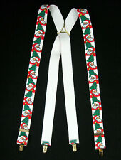 Cas West Germany White Santa Claus Christmas Elastic Suspenders Braces X Frame