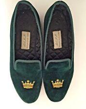 9M BERKS Burlington Arcade Men's Green Velvet Handmade Smoking Loafer London