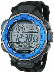 Armitron 40/8301BLU,   Men's Black Resin Watch, 100 Meter WR, Chronograph, Alarm