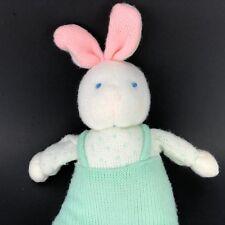 Easter Bunny Rabbit Plush RARE VTG White Toy Sweater Knit Green Jumper Lovie